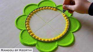 Krishna janmashtami special rangoli designs with colours l Krishna jayanti rangoli l kolam muggulu - Download this Video in MP3, M4A, WEBM, MP4, 3GP
