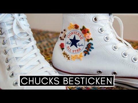 Pimp my Chucks: Converse mit Blumen besticken - Sticken lernen für Anfänger