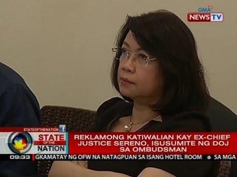 SONA: Reklamong katiwalian kay ex-Chief Justice Sereno, isusumite ng DOJ sa Ombudsman