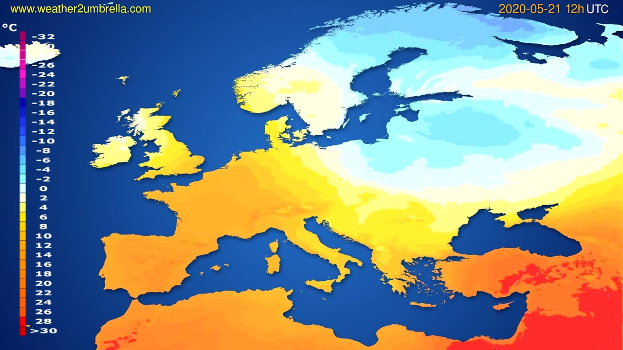 Temperature forecast Europe // modelrun: 00h UTC 2020-05-21