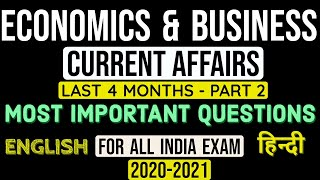 ECONOMICS AND BUSINESS CURRENT AFFAIRS (PART-2)FOR 2020 EXAMS, LATEST MCQ QUESTIONS for Competition