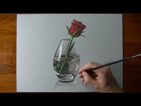 Disegno in timelapse: rosa in vaso di vetro