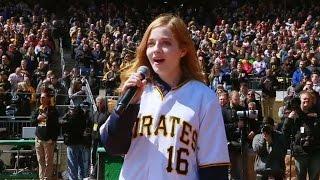 STL@PIT: Jackie Evancho sings national anthem