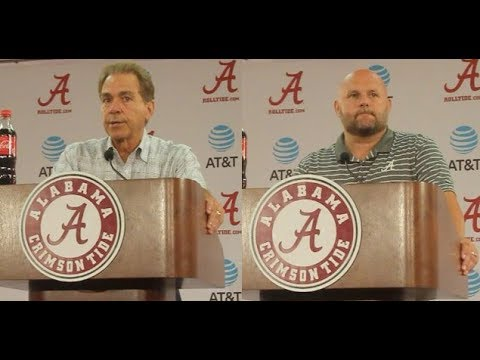 Nick Saban and Brian Daboll speak during Media Day