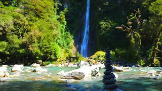 Beautiful WATERFALL and RIVER, Waterfall sounds, River Sounds for Sleep, Relaxing, Study,Block Noise