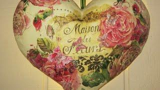 Uma linda decoupage em um coração de papel machê – Belo Vídeo