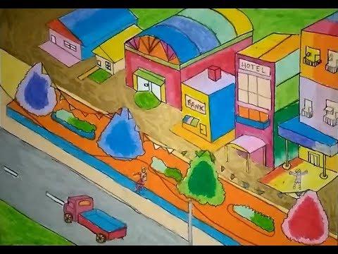 Cara Menggambar Pemandangan Kota Besar Dengan Crayon Nove Hasanah