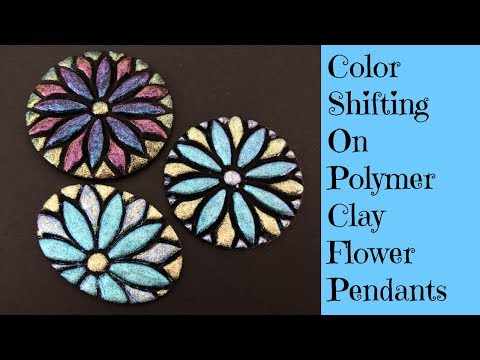 Polymer Clay Tutorial Creating A Flower Pendant Medallion Decorated With Dragonfly Glaze