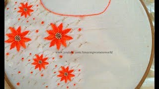 Most Beautiful Floral Beads Design With Normal Stitching Needle-Same Like AARI/ Maggam Work Blouse