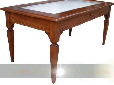 Tavolino tavolini classici da salotto soggiorno con bacheca vetro intarsiati foderati con stoffa