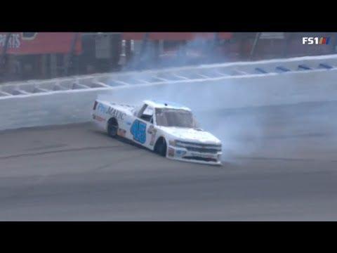 NASCAR Camping World Truck Series 2018. Michigan International Speedway. Justin Fontaine Crash