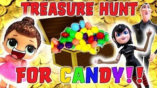 LOL Doll and Hotel Transylvania Treasure Hunt for Candy! Starring Mavis, Drac and Fancy!