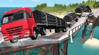 Breakable Bridge Traffic Jam #1 - Beamng Drive