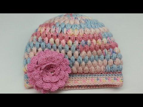 كروشيه طاقيه بغرزة الباف  How to crochet easy puff stitch Hat