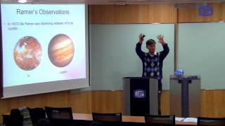 These videos are taken from a lecture course on Modern Physics I taught at the Catholic University of Korea in Spring 2016.This video describes the first measurement of the speed of light, using observations of Jupiter's moon Io.Link to the slides used in this video: https://drive.google.com/file/d/0B8hDfVvVdCImeHJVZlE4RGwxZkE/view?usp=sharing