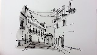 Sketching With Different Inks. Street Scene From Lisbon. Quick Drawing Techniques. Peter Sheeler