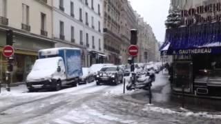 Paris rue de la Pompe janvier 2013 sous la neige