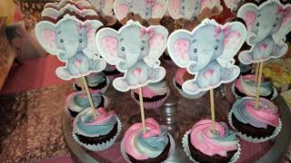 Elephant/ Baby Shower Theme W/ Pink,Silver & White Sweet/Treat Table