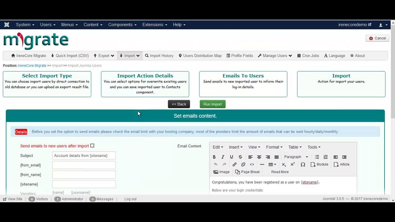 IreneCore Migrate Import Joomla Users