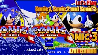 Let's Play Sonic 1, Sonic 2 & Sonic 3 with GIVEAWAY - Win Sonic 3 Japanese Game (Live 8th April '17)