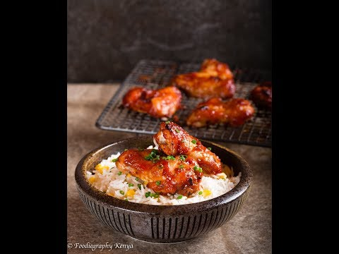 Sticky Chicken Wings & Corn Rice