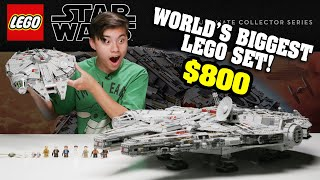 BIGGEST LEGO SET IN THE WORLD!!! LEGO Star Wars UCS Millennium Falcon GIVEAWAY Speed Build & Review!