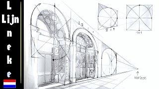 Hoe teken je perspectief Kerk Interieur met kruisboog gewelf - Самые ...