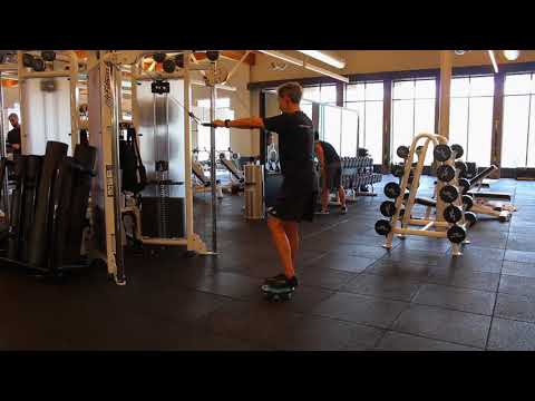 Reverse Lunge High Cable Pull Down