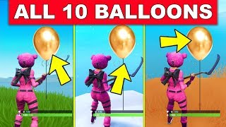 """""""POP 10 GOLDEN BALLOONS"""" - ALL 10 LOCATIONS LOCATION WEEK 9 CHALLENGES FORTNITE SEASON 7"""