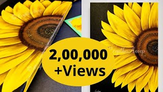 Step By Step Easiest Painting Sunflower Art On A Large BLACK Canvas Yellow Floral Work Ideas
