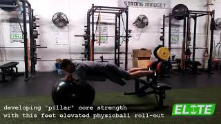 Feet Elevated Physioball Roll-Outs To Develop Core Stability