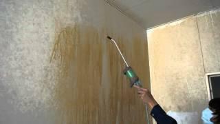 喫煙室の壁面洗浄