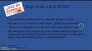 Role Modeling Instructional Method
