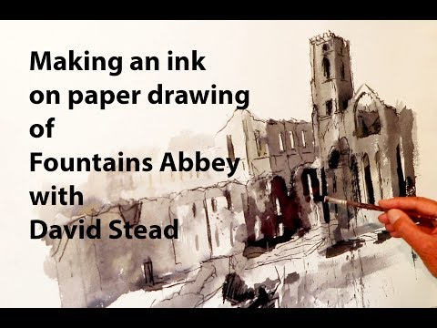 Thumbnail of Making a Drawing of Fountains Abbey in ink and Pitt Charcoal