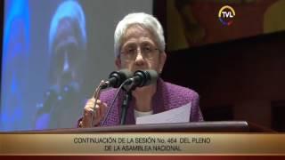 Intervención de Rocío Rosero la Asamblea Nacional para presentar el proyecto de ley para erradicar l