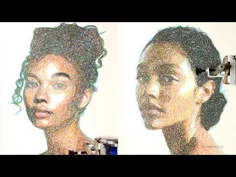 Drawing Single Line CMYK Portraits