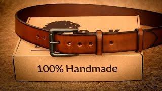 Heavy Duty Leather Belt With Roller Buckle 100% Handmade By Oak Leathercraft