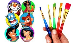 Disney Aladdin Drawing & Painting with Surprise Toys Genie Jasmine Rajah Abu Aladdin Jafar Toys