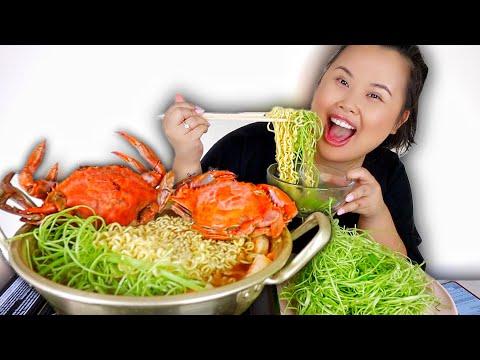 SPICY BLUE CRAB SEAFOOD RAMEN MUKBANG 먹방 EATING SHOW!
