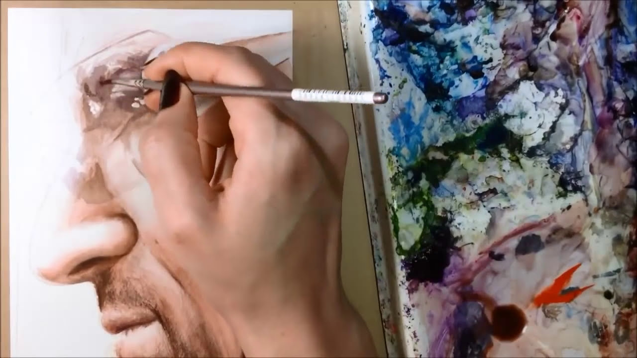 watercolor portrait tutorial skin and nose