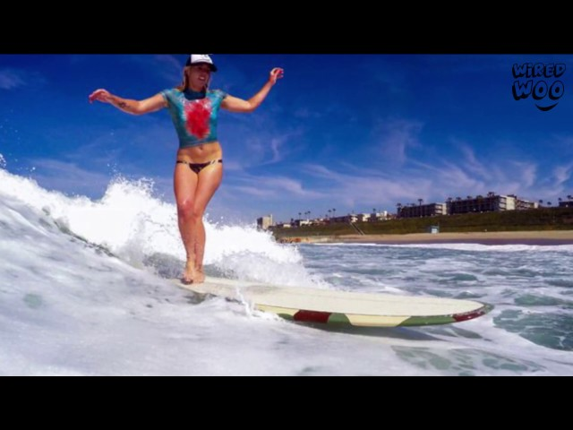 When Surfing Model Wearing Nothing But Body Paint Wetsuits And Take The Waves!