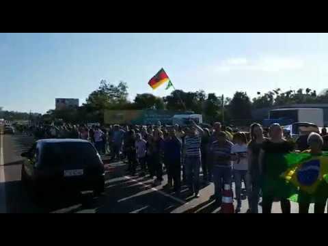 Manifestação neste sábado na RS-239, em Araricá