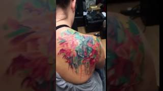 Insane Watercolor Tattoo : Abstract Flower Bouquet Coverup