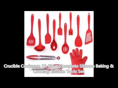 Crucible Cookware, Utensils Set, 12-Piece Complete Silicone Baking & Cooking Kitchen Tools Set