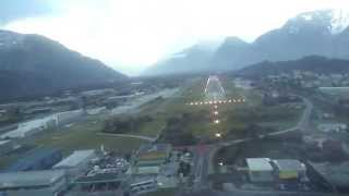 preview picture of video 'Sion Airport - IGS Approach & Landing Runway 25'