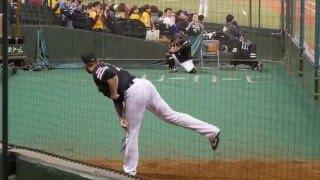 福岡ソフトバンクホークスデニス・サファテブルペンでの投球練習