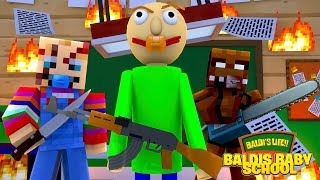 MinecraftBALDIS BABY SCHOOL - BABY BALDI MAKES NEW BEST FRIENDS WITH CHUCKY & FREDDY FAZBEAR!!