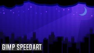 SpeedArt - Night View Design Wallpaper! [GIMP]