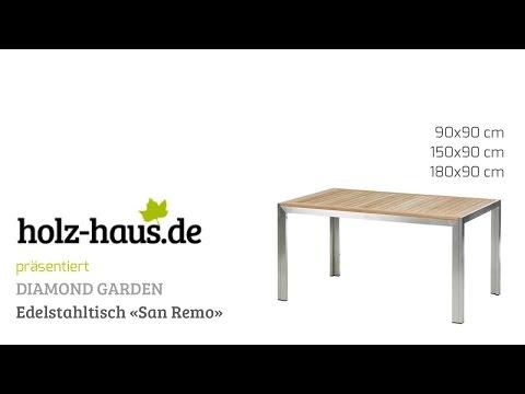 Holz-Haus - Diamond Garden Edelstahl-Gartentisch mit Teakholz-Platte San Remo