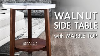 Walnut End Table With Marble Top // Side Table